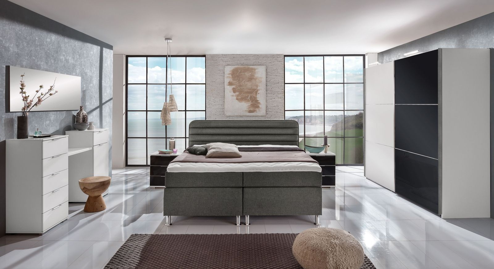 komplett schlafzimmer mit boxspringbett junges wohnen lurato. Black Bedroom Furniture Sets. Home Design Ideas