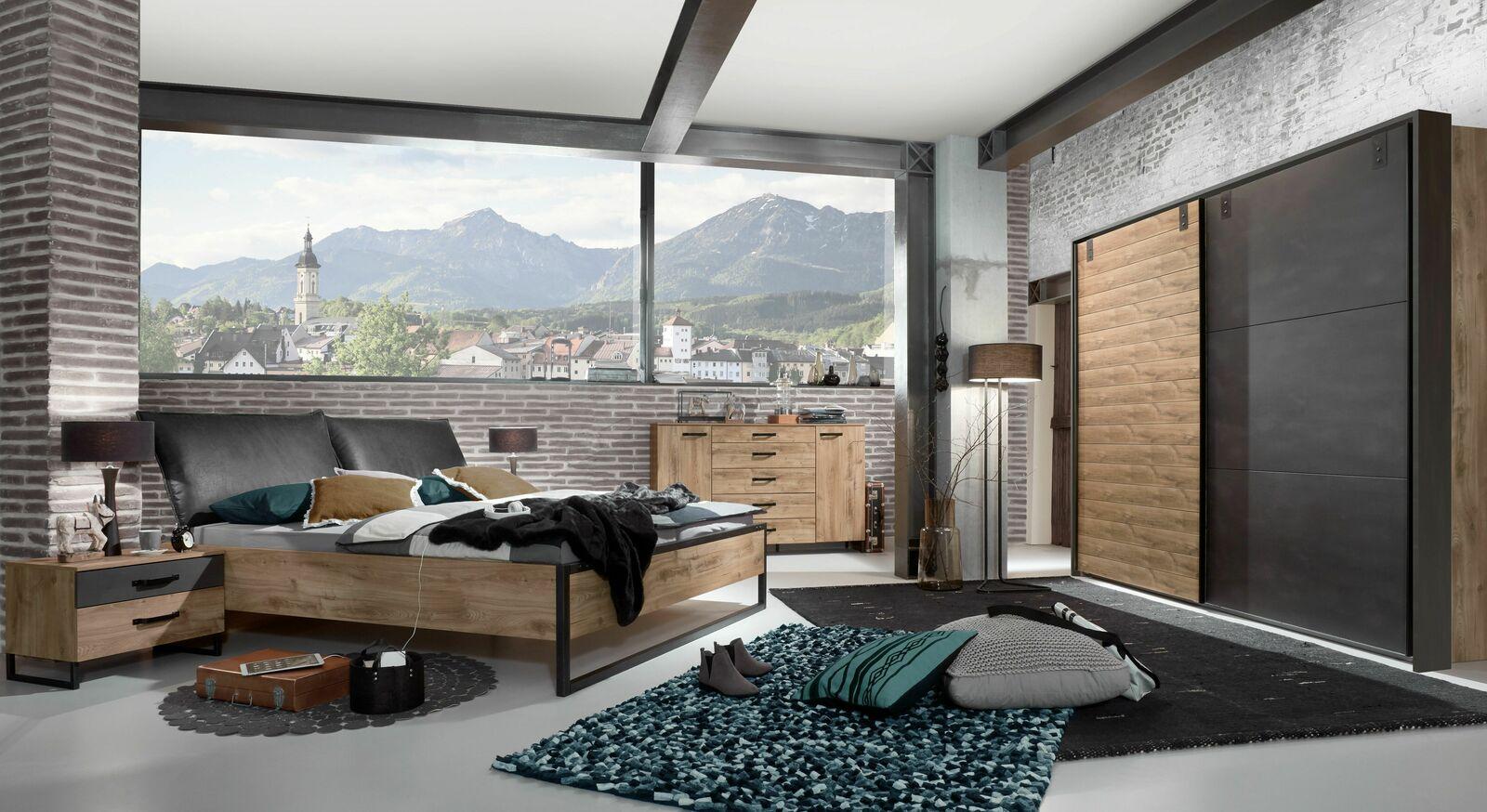 Rustikales Komplett-Schlafzimmer Mancos aus Plankeneiche-Dekor