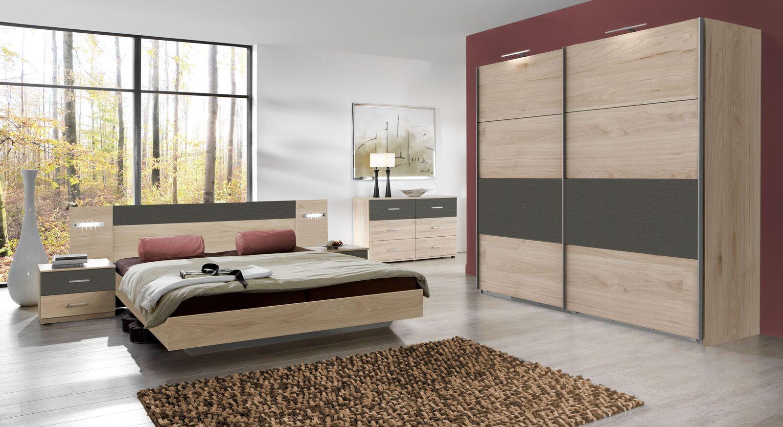 Komplett-Schlafzimmer Pahoa in Eiche und Graphit Dekor