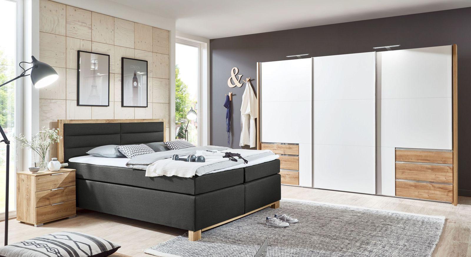 Komplett-Schlafzimmer Raca in Alpinweiß und Plankeneiche-Dekor