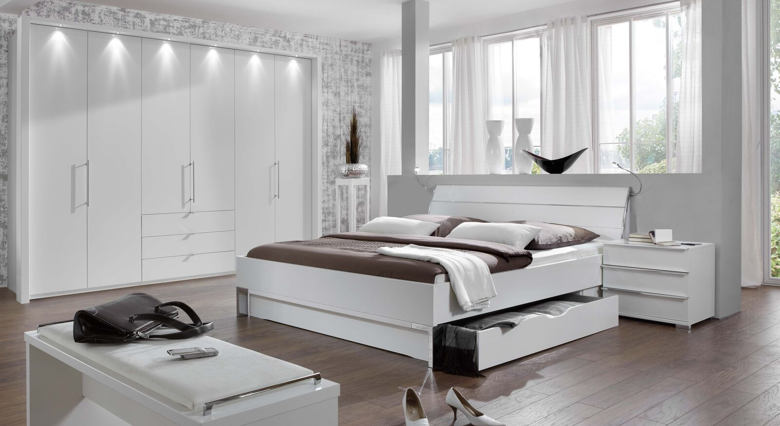 Komplett-Schlafzimmer Salford aus weißem Dekor