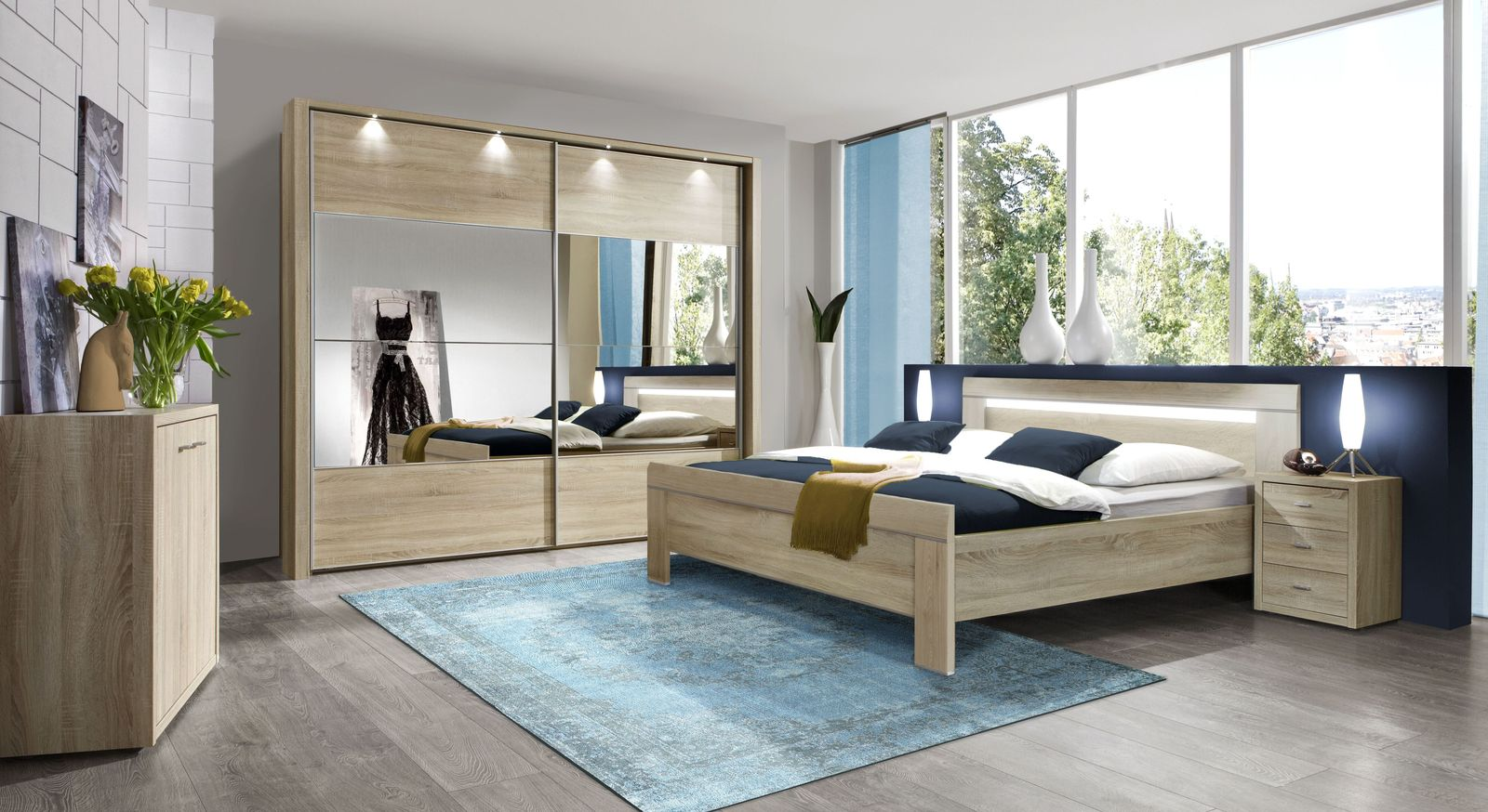 schrank kommode in eiche s gerau dekor mit 2 dreht ren seymour. Black Bedroom Furniture Sets. Home Design Ideas