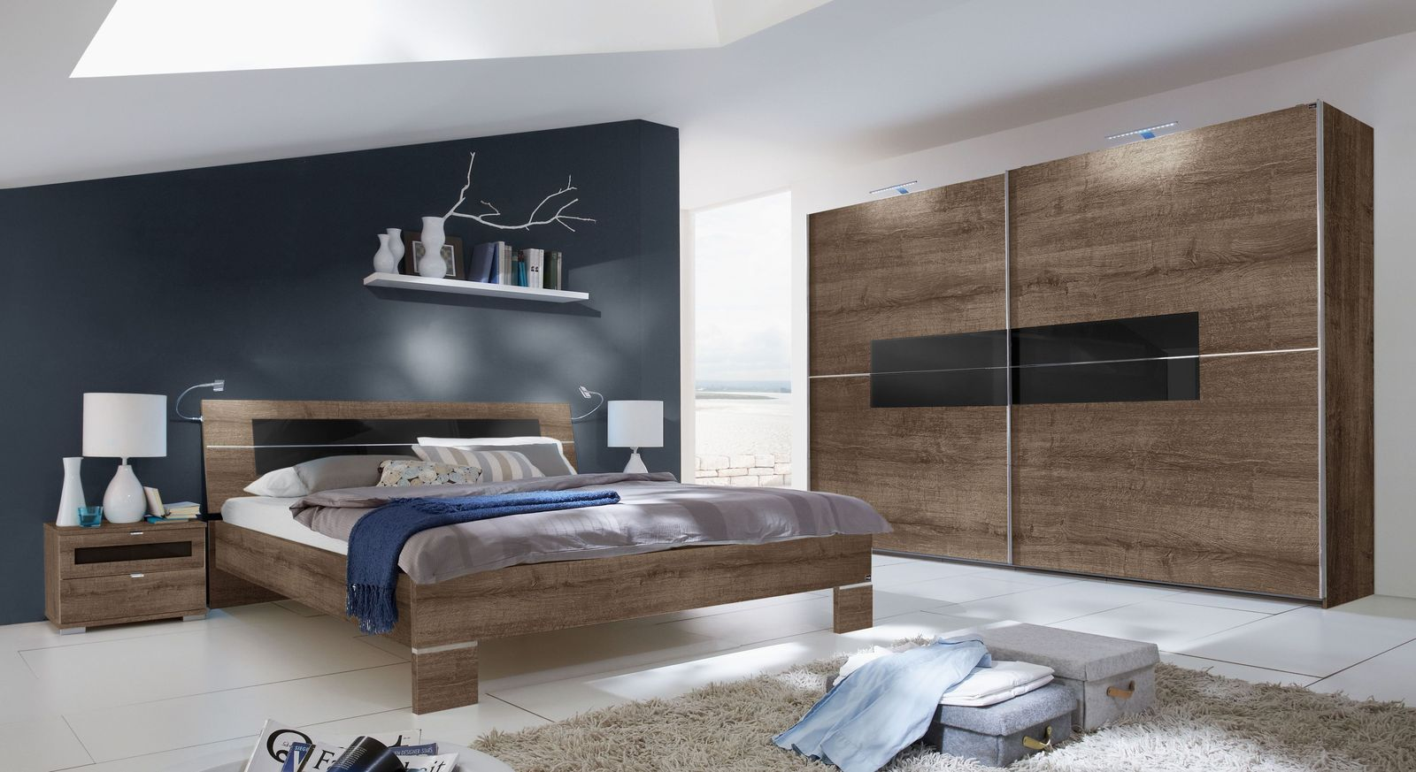 schlafzimmer komplett aus schlammeiche dekor und glas surano. Black Bedroom Furniture Sets. Home Design Ideas