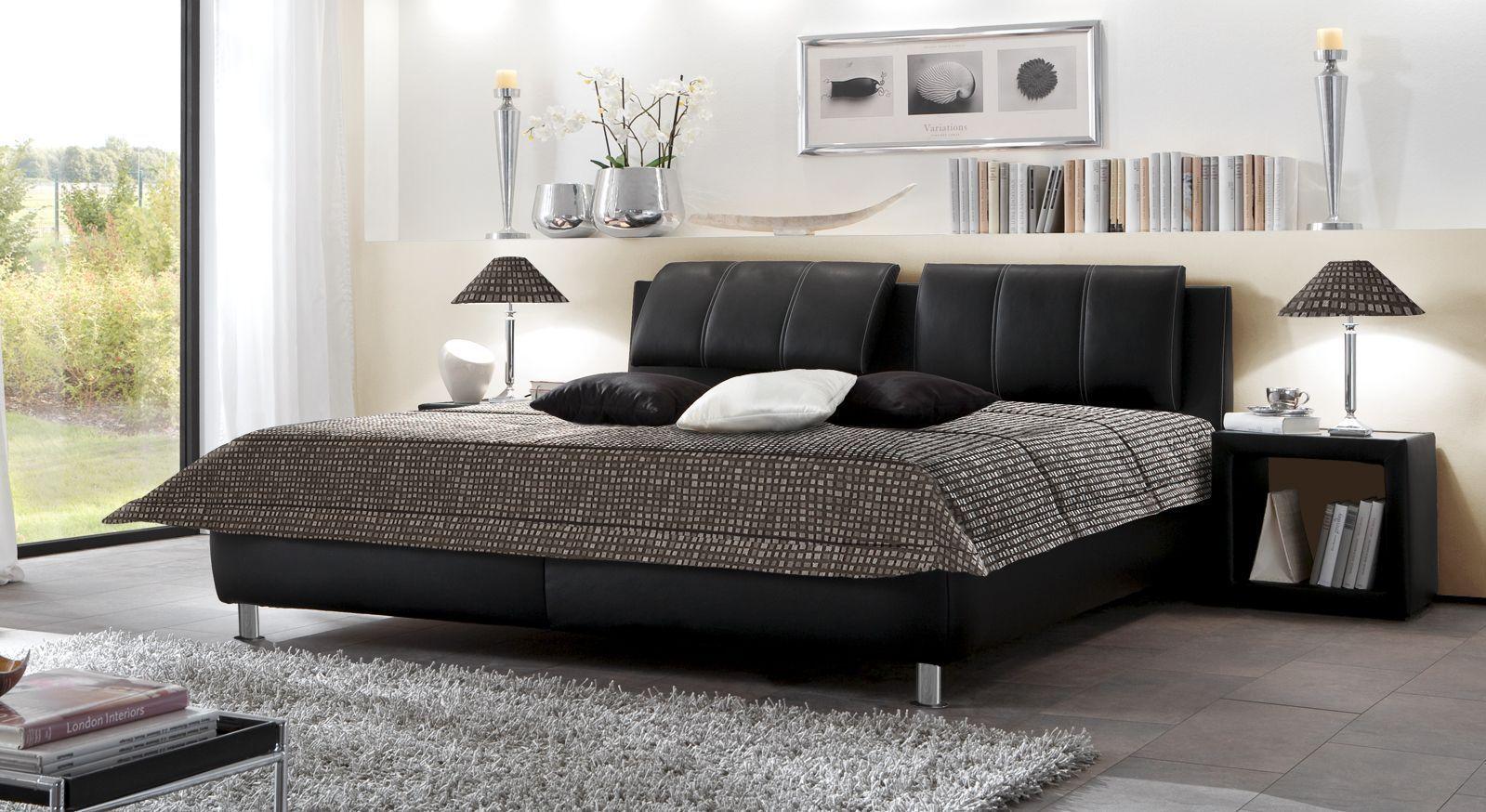 Lederbett Carisio schwarz modern Komfort