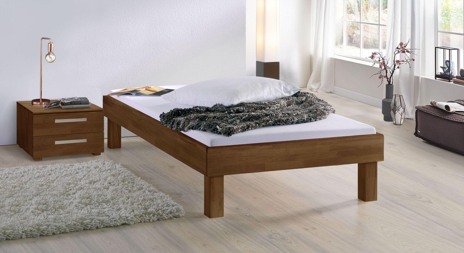 Nussbaumfarbene Liege Madrid Komfort mit 25 cm Fußhöhe