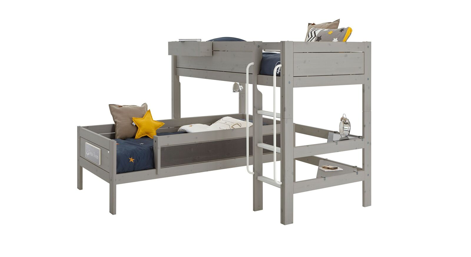 LIFETIME Eck-Etagenbett Original aus grau lasiertem Holz