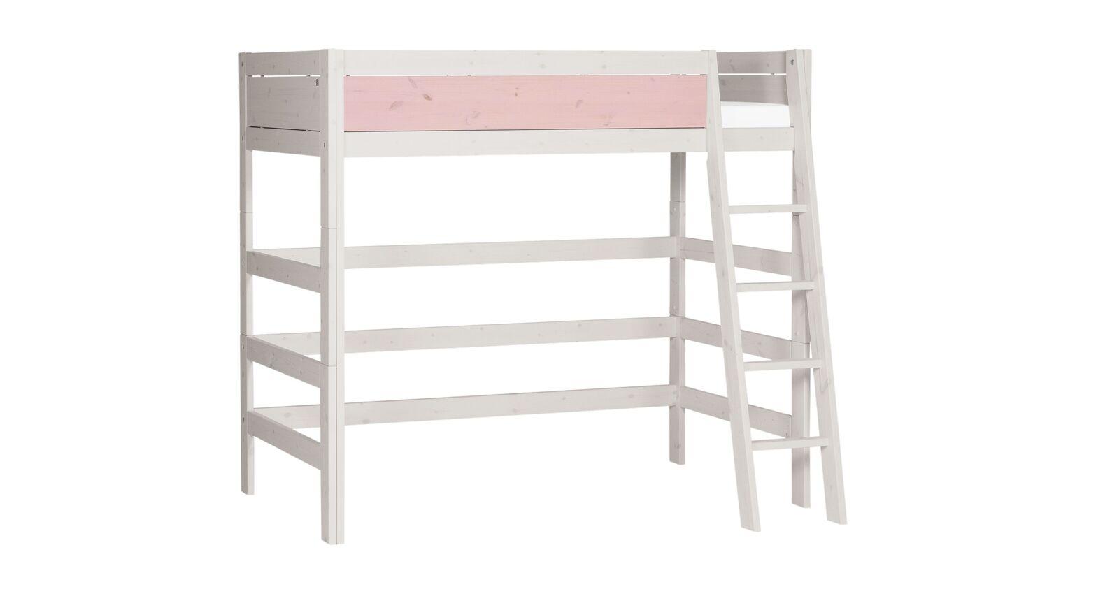 LIFETIME Hochbett Color mit schräger Leiter und rosa Frontfüllung