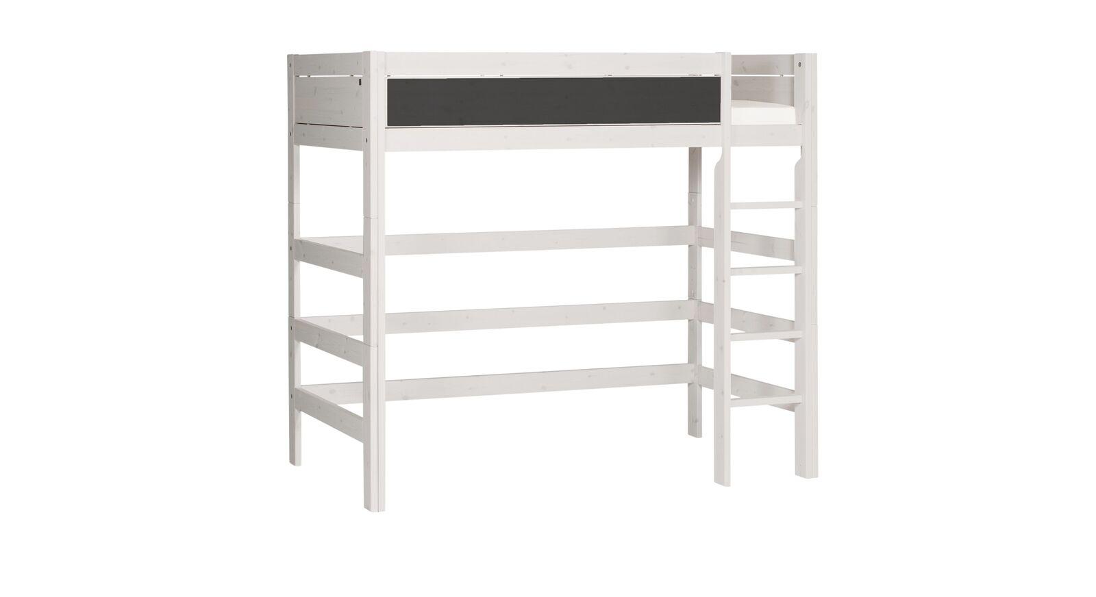 Graues LIFETIME Hochbett mit Tafel und gerader Leiter