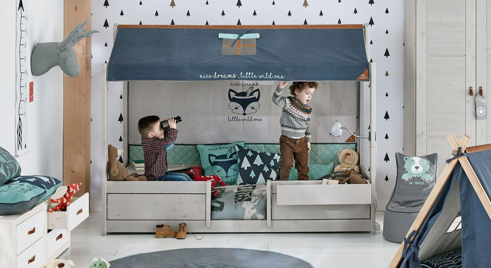 LIFETIME Kinderbett 4-in-1 Forest Ranger aus Kiefer mit Rückwand und Dach