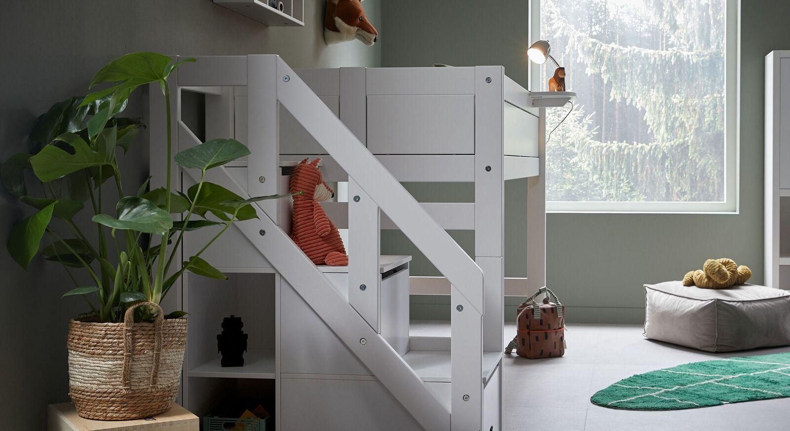 LIFETIME Midi-Hochbett Original mit Treppenmodul und sicherem Geländer