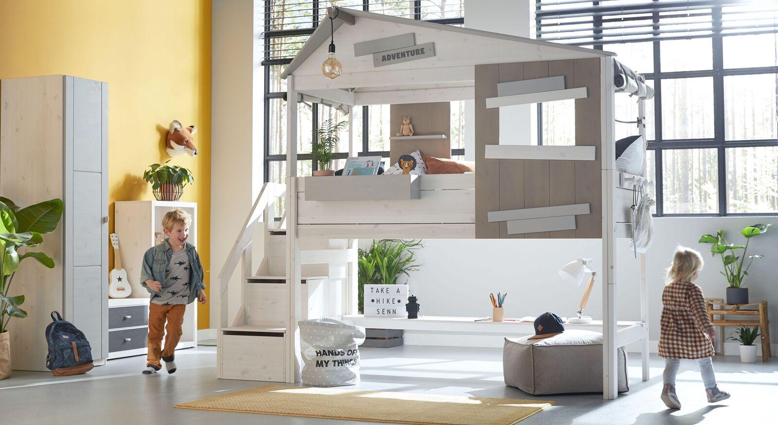 LIFETIME Midi-Hüttenbett Hideout mit Treppenmodul in Markenqualität
