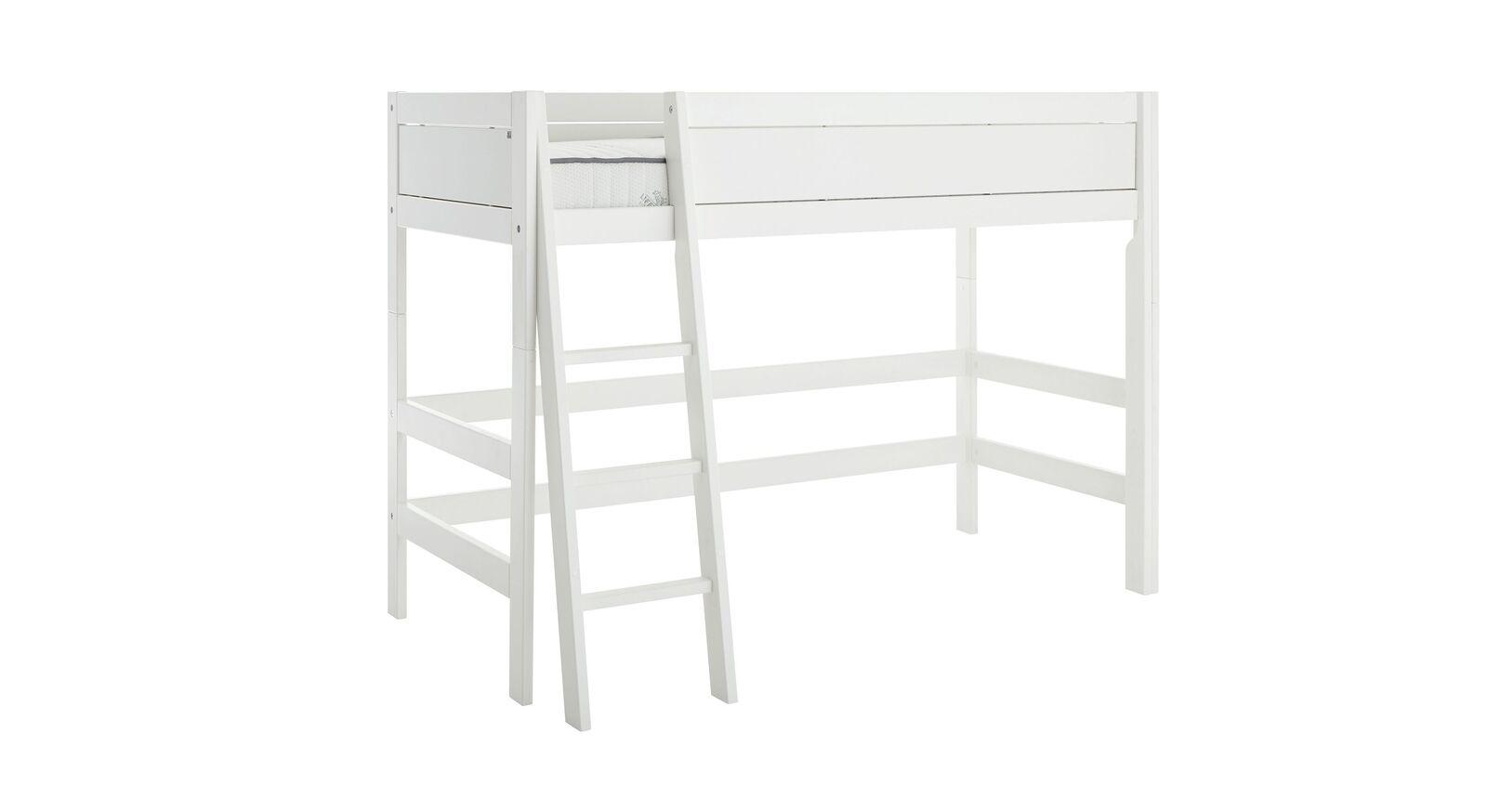 LIFETIME Mittelhochbett Original in Weiß lackiert mit schräger Leiter