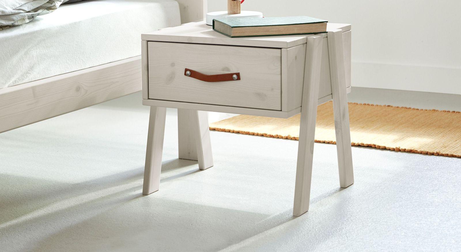 Weiß lasierter LIFETIME Nachttisch Original mit Ledergriff