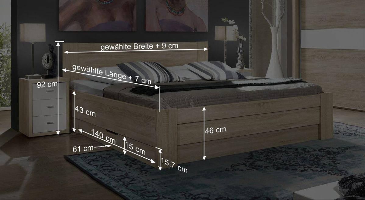 Maßgrafik zum Bett Oakville