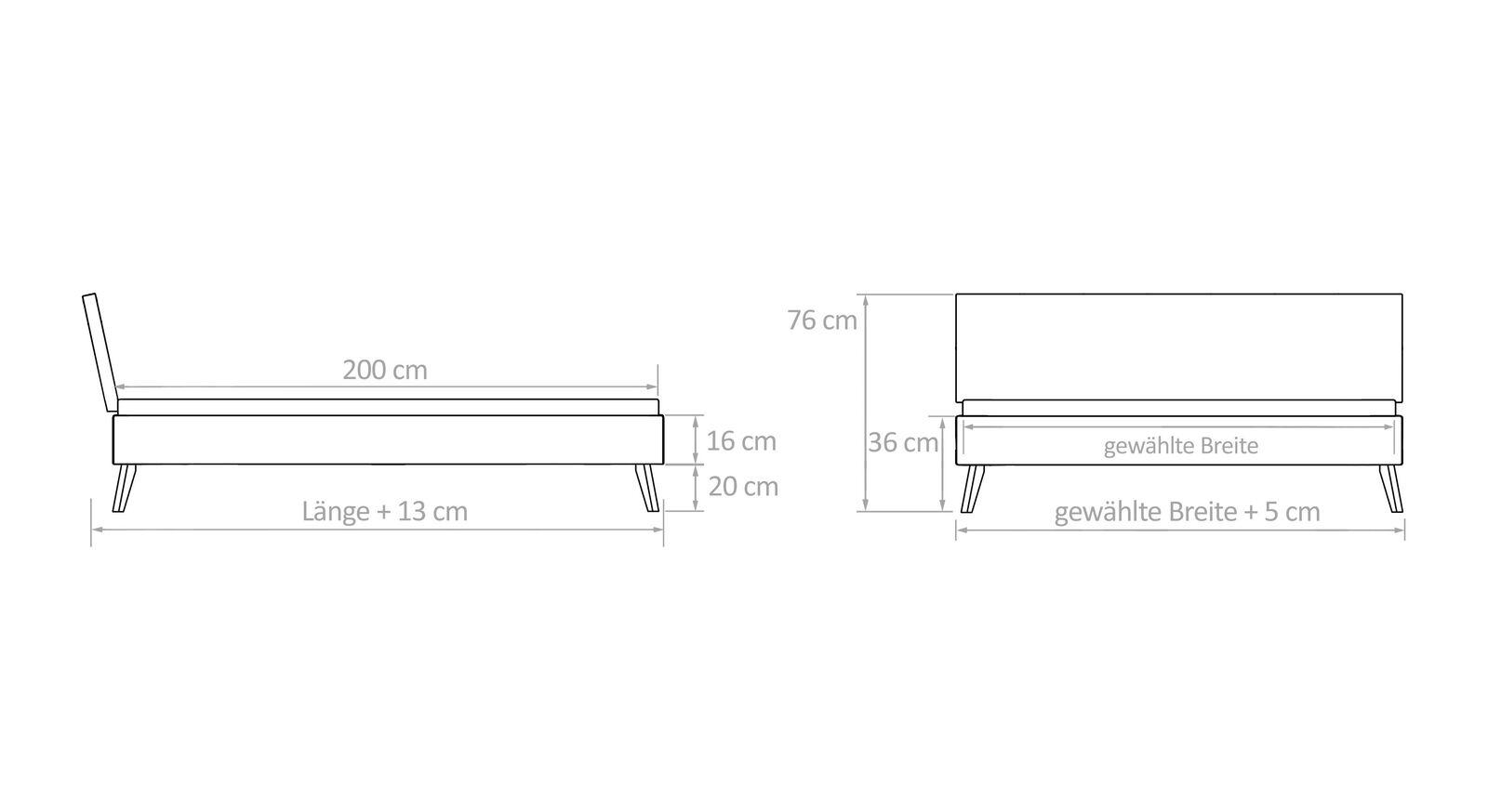 Maß-Grafik zum Bett Coraia