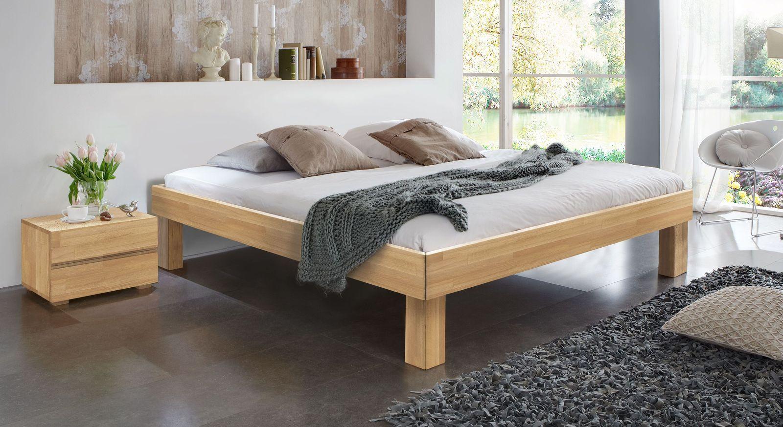 Massivholzliege Madrid Komfort aus Buche mit 25 cm hohen Füßen