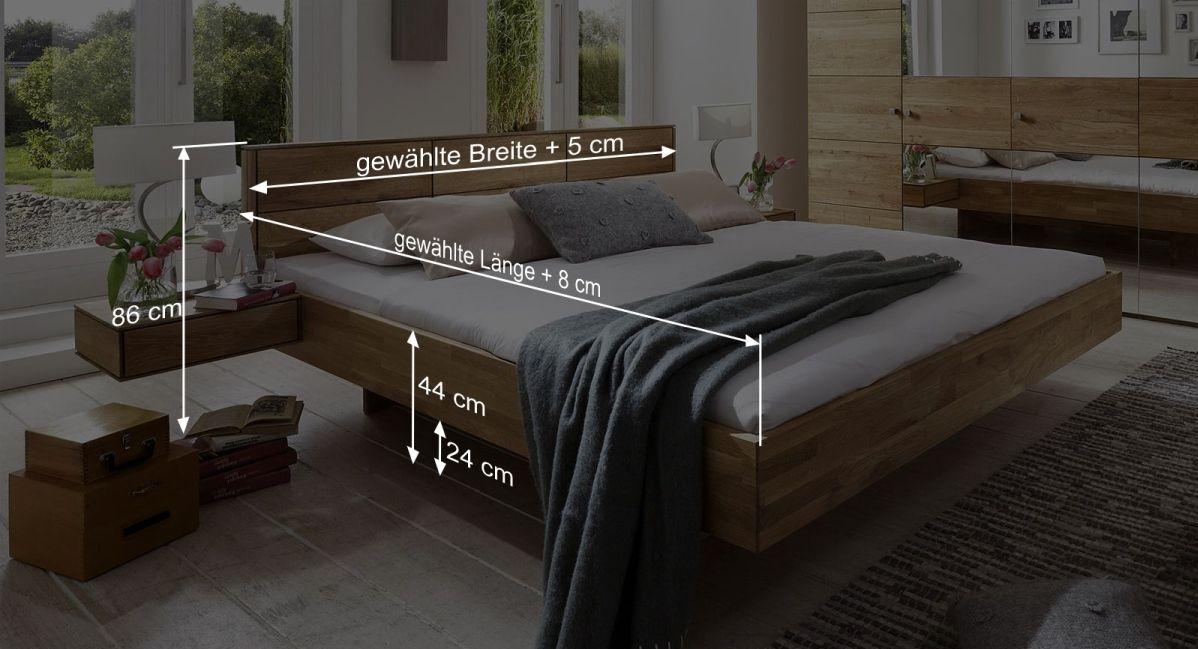 Bemaßungsgrafik zum Bett Terrano