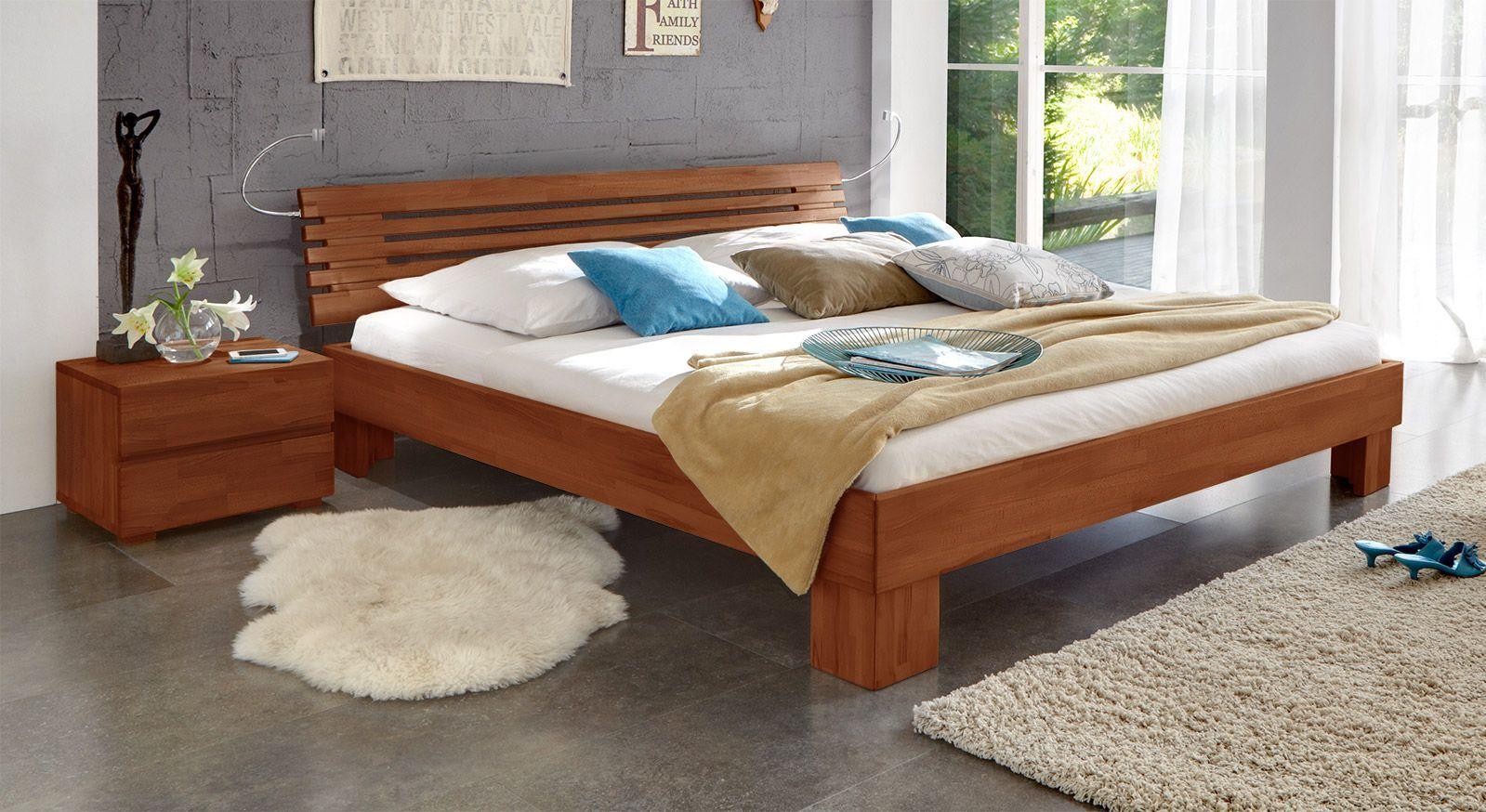 Massivholzbett Wood Romance in kirschbaumfarben in 20cm