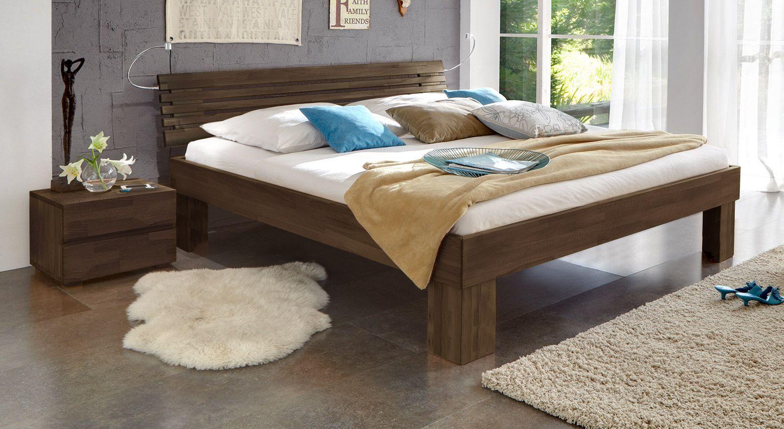Massivholzbett Wood Romance wengefarben 30cm
