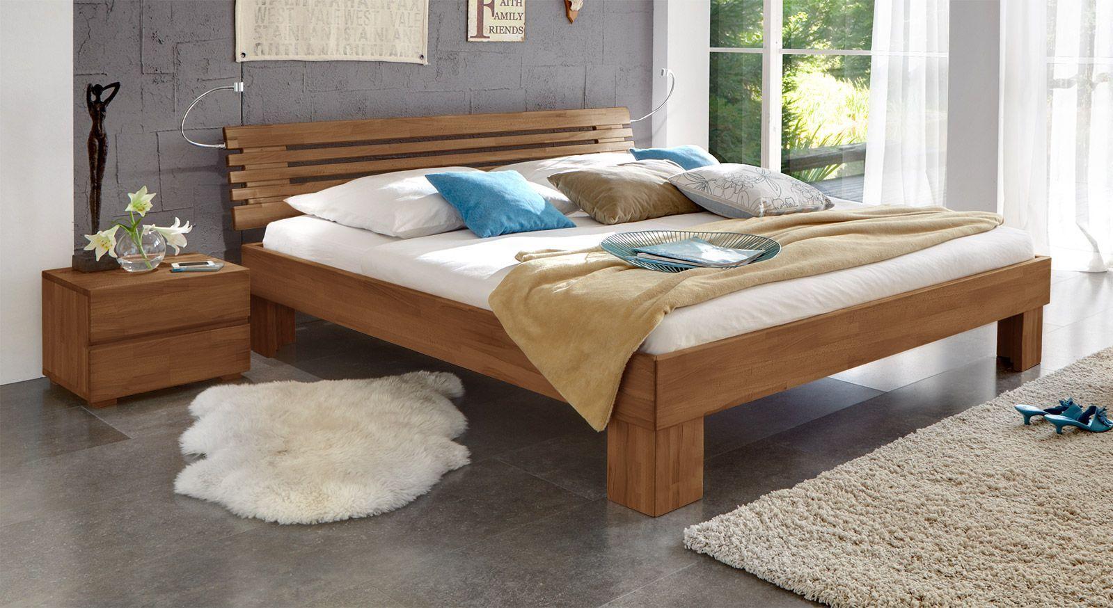 Massivholzbett Wood Romance nussbaumfarben 25cm