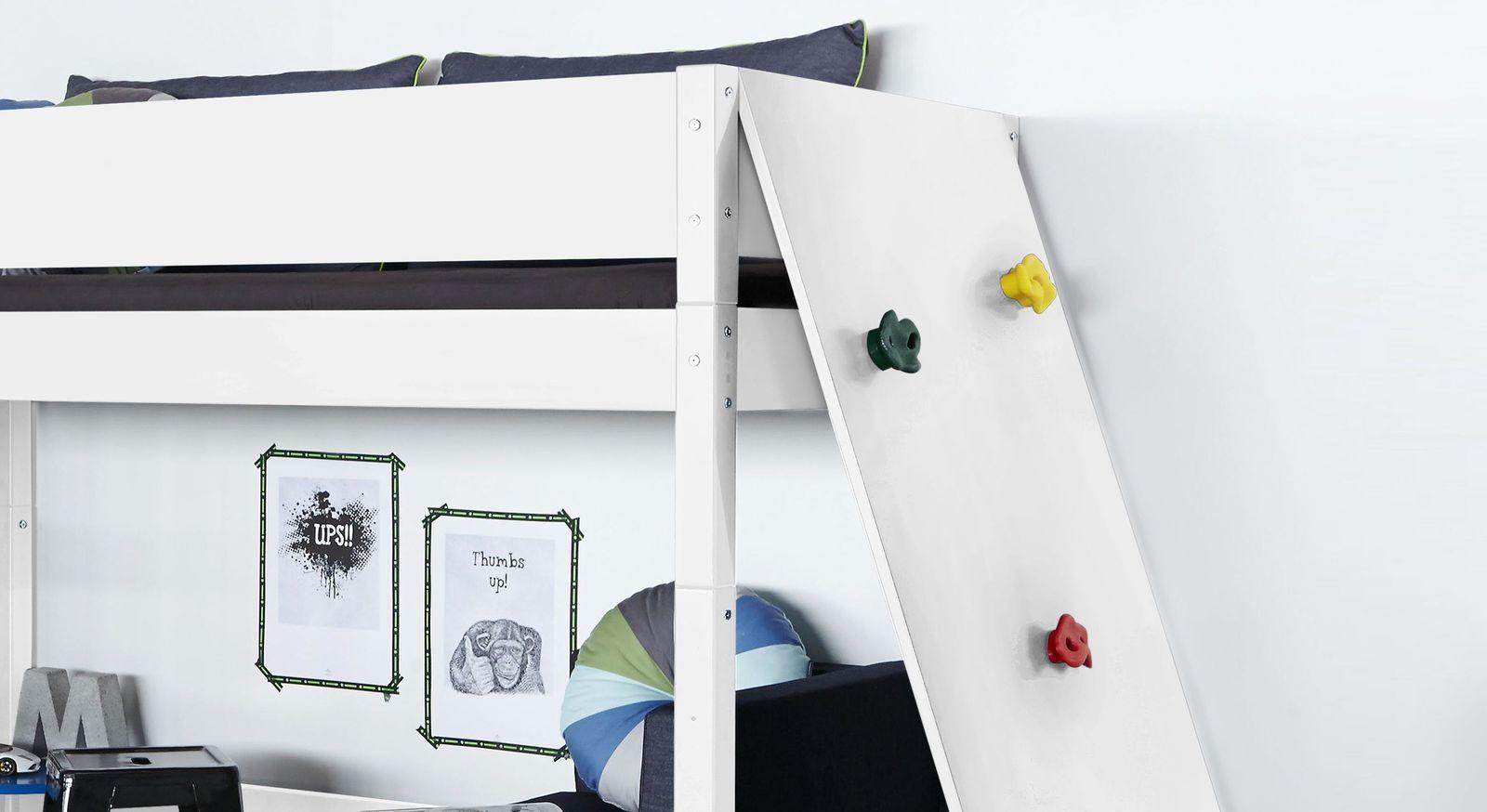 Midi-Hochbett Kids Town mit sicher angebrachten Kletterwand