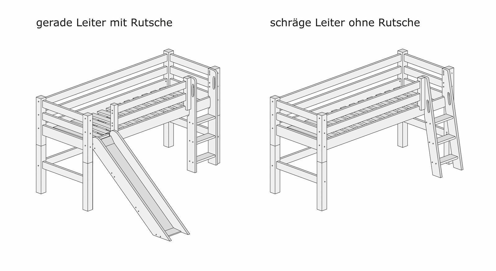 Grafik zum Mini-Hochbett mit schräger und gerader Leiter
