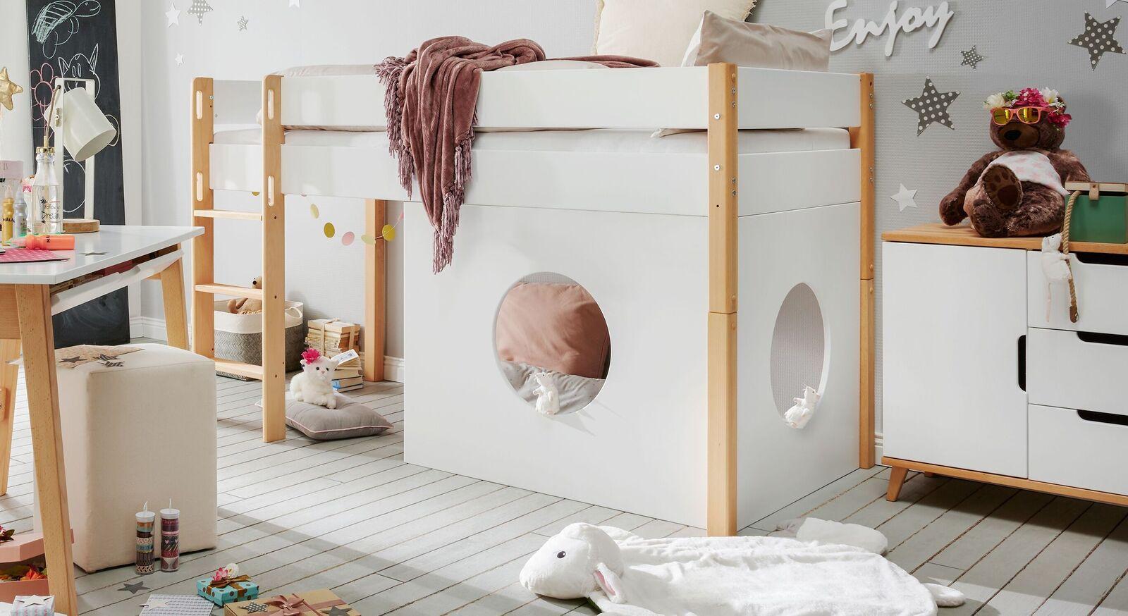 Mini-Hochbett Kids Nordic Girls in Weiß und Buche