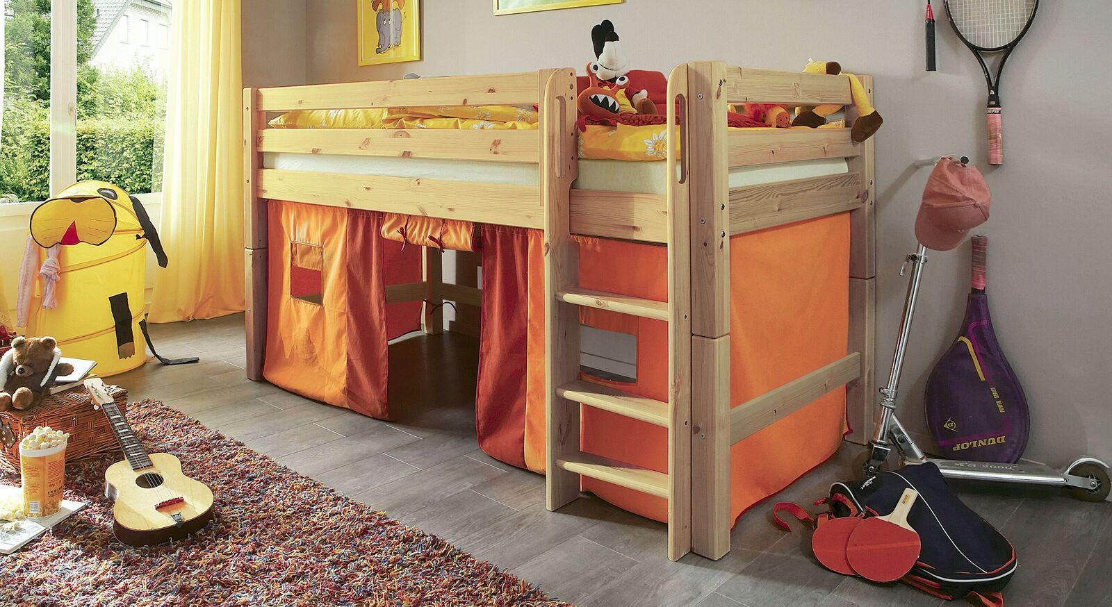 Mini-Hochbett Kids Paradise aus natur lackierter Kiefer