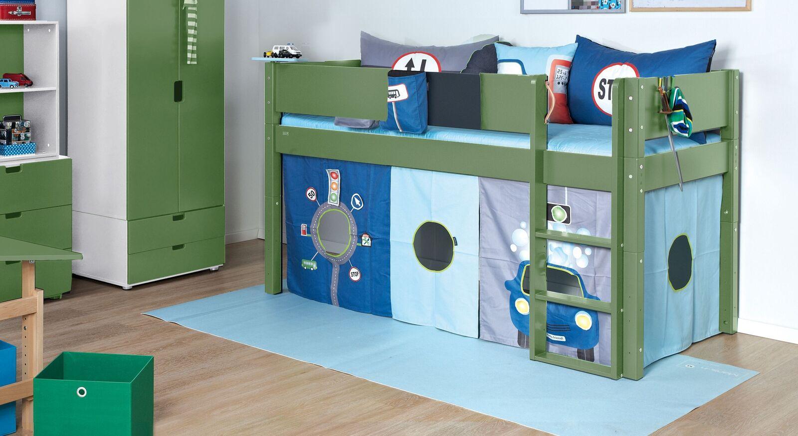 Modernes Mini-Hochbett Kids Town Color in Olivgrün