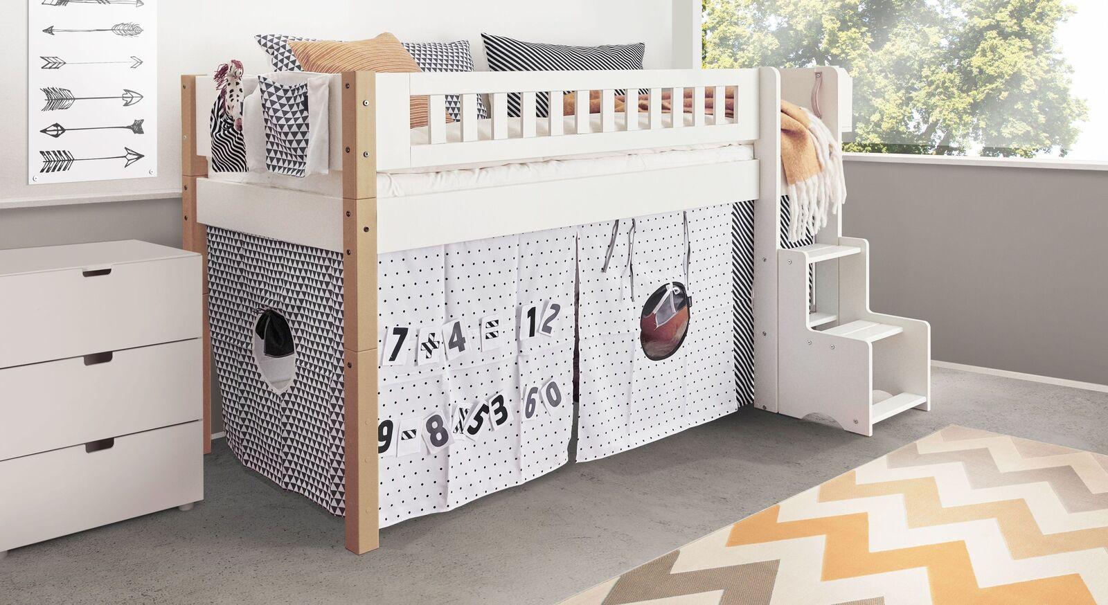 Mini-Hochbett Kids Town Design mit Buchenholzpfosten