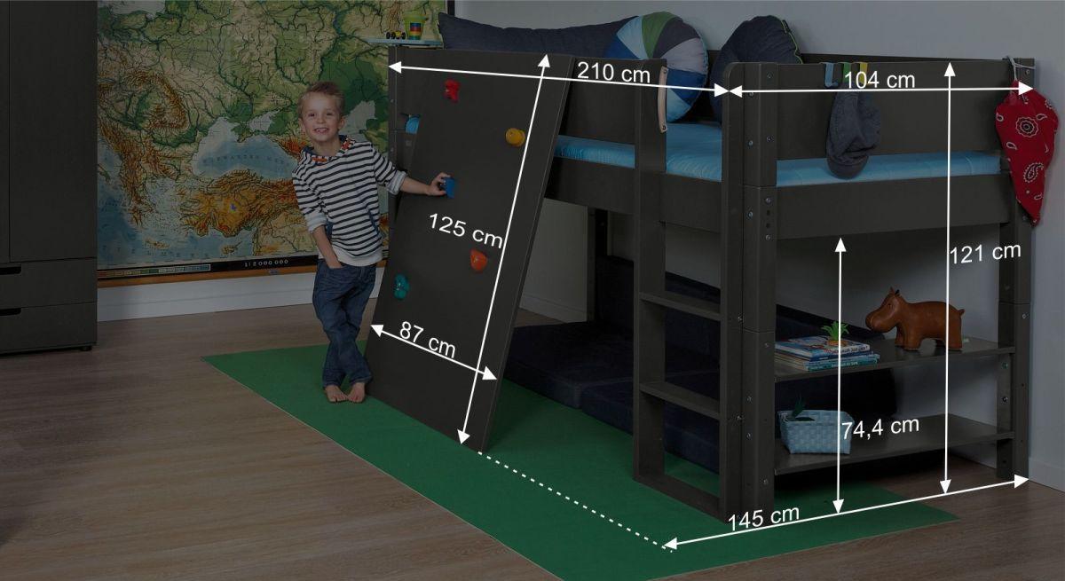 Bemaßungsgrafik zum Mini-Hochbett Kids Town mit Kletterwand