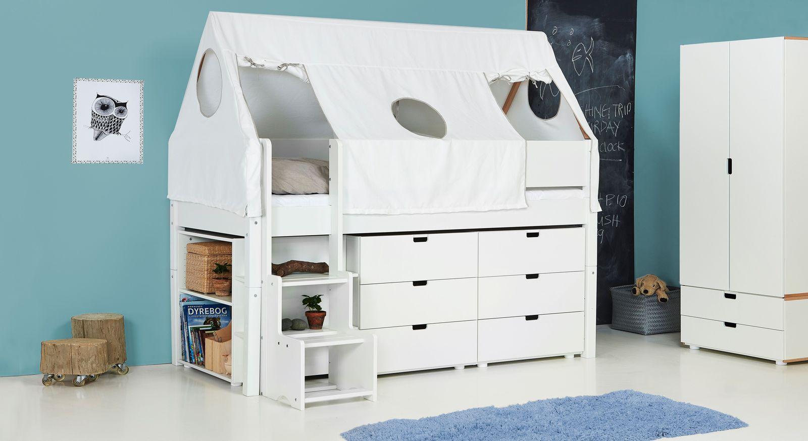 Mini-Hochbett Kids Town Tipi aus weiß lackiertem MDF
