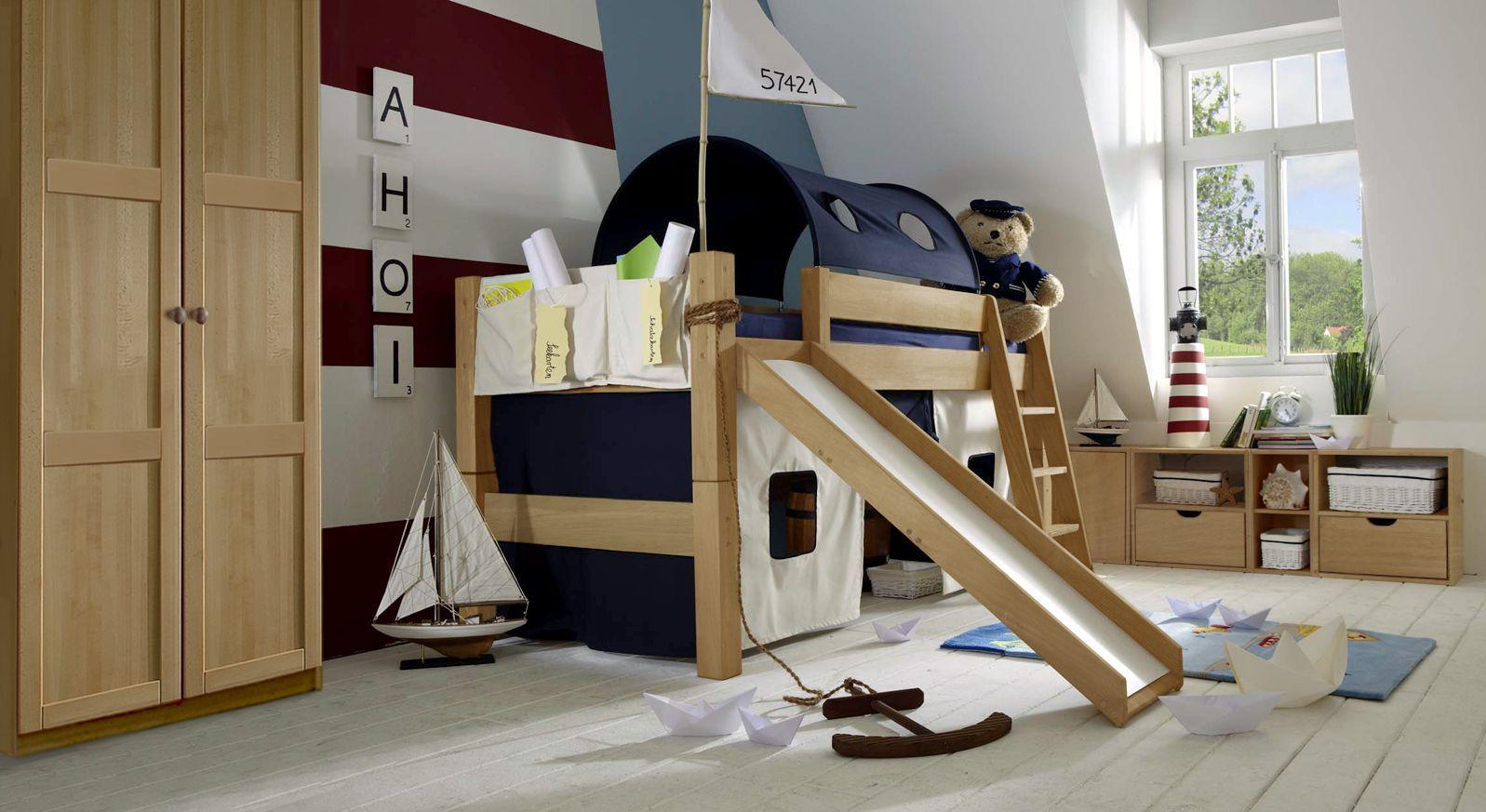 Mini-Rutschen-Hochbett Kids Fantasy aus massiver Buche