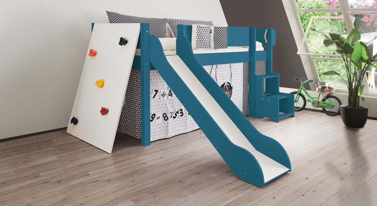 Mini-Rutschen-Hochbett Kids Town Color mit Kletterwand in Aqua