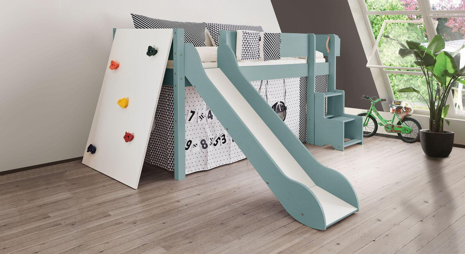 Mini-Rutschen-Hochbett Kids Town Color mit Kletterwand in Blaugrau