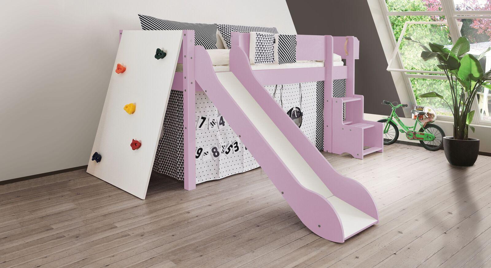 Mini-Rutschen-Hochbett Kids Town Color mit Kletterwand in Flieder