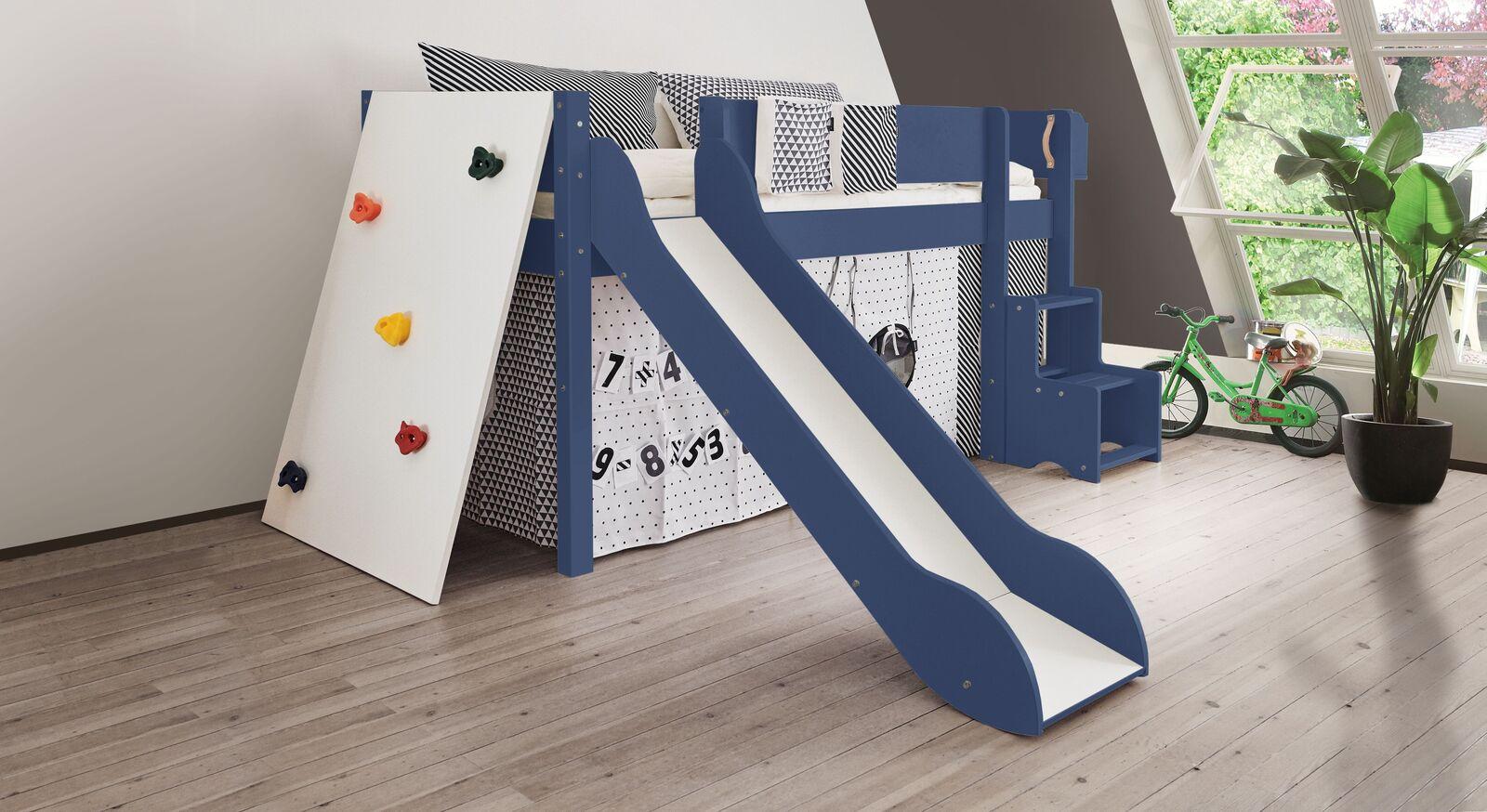 Mini-Rutschen-Hochbett Kids Town Color mit Kletterwand in Jeansblau