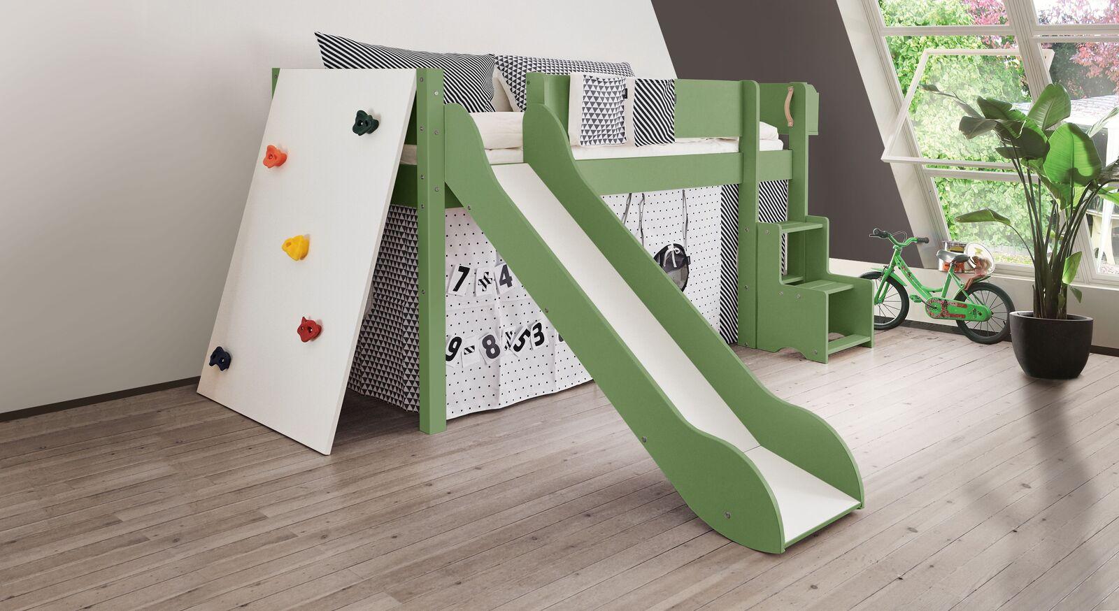Mini-Rutschen-Hochbett Kids Town Color mit Kletterwand in Olivgrün