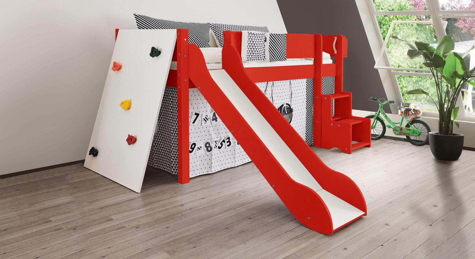 Mini-Rutschen-Hochbett Kids Town Color mit Kletterwand in Rot