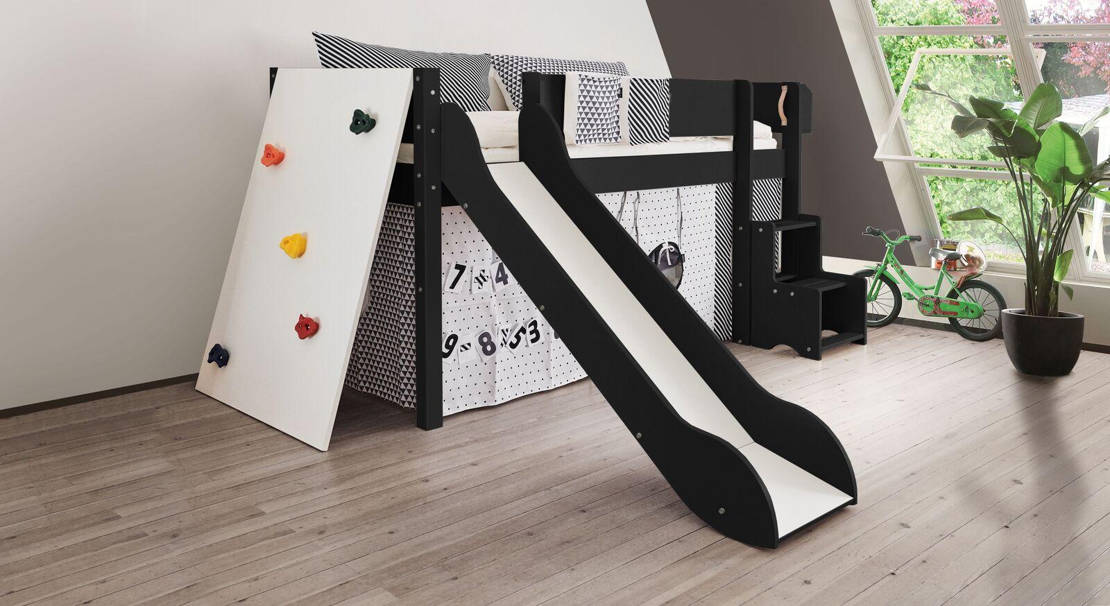 Mini-Rutschen-Hochbett Kids Town Color mit Kletterwand in Schwarz