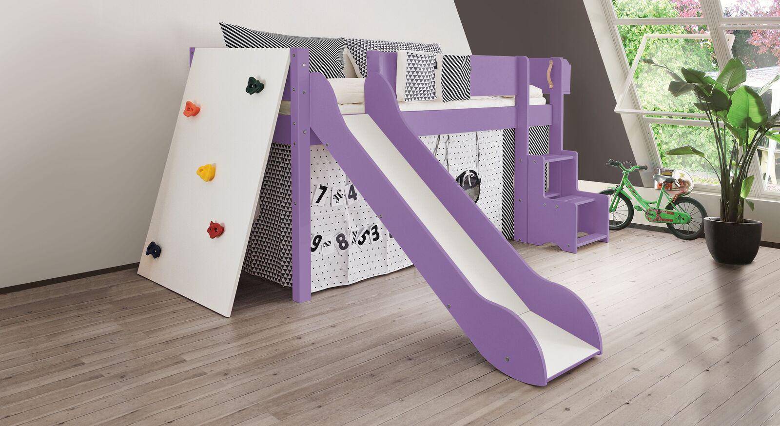 Mini-Rutschen-Hochbett Kids Town Color mit Kletterwand in Violett