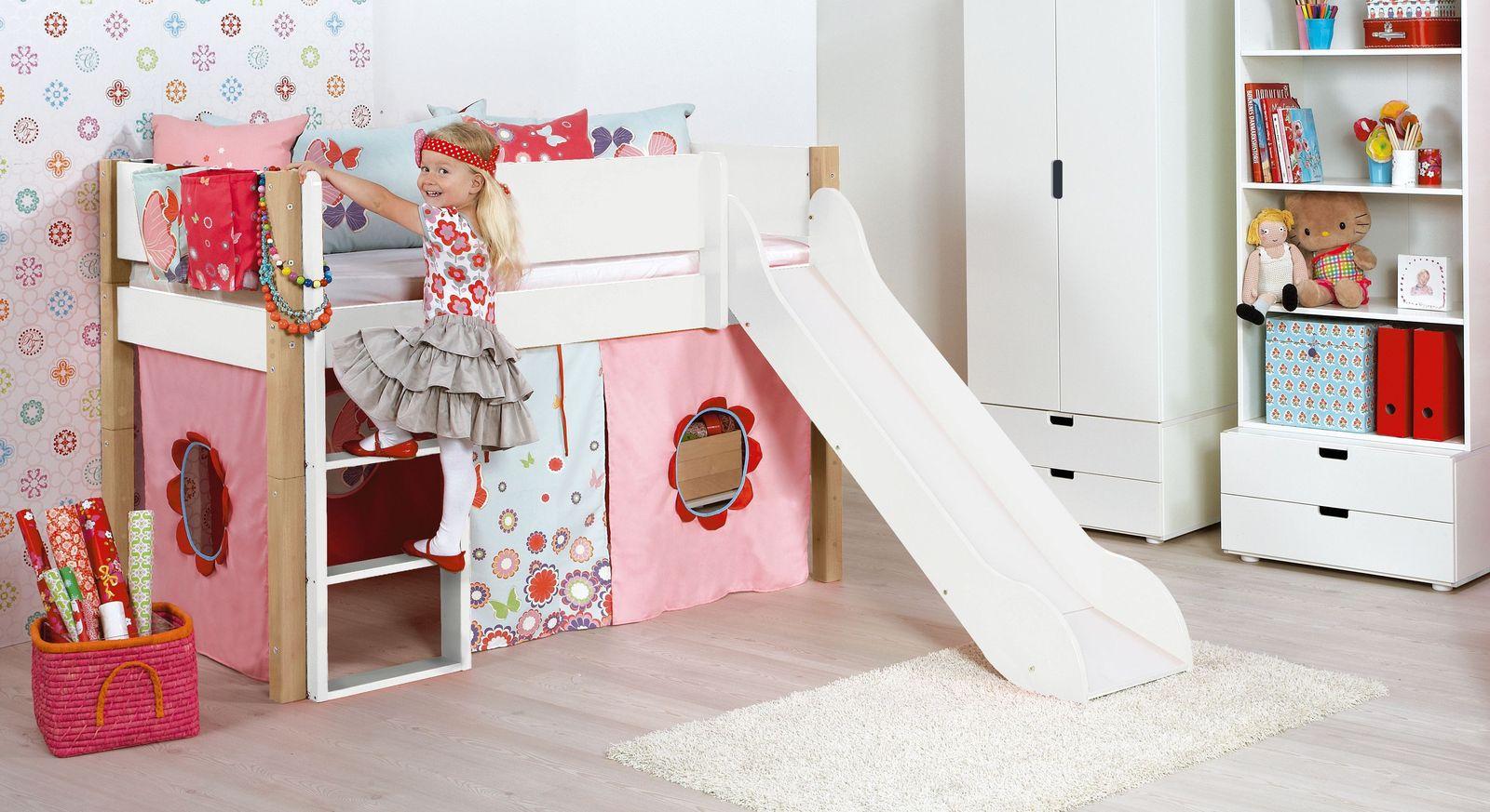 Mini-Rutschen-Hochbett Kids Town in Weiß mit Buchenpfosten