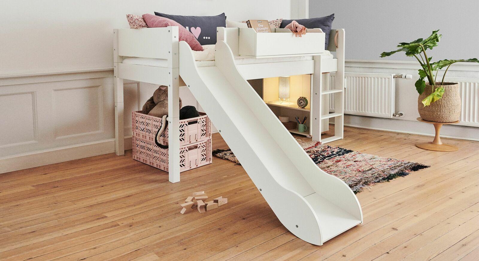 Modernes Mini-Rutschen Hochbett Kids Town in Weiß