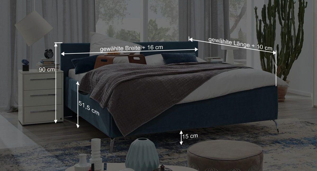 Bemaßungsgrafik zum Bett Epos