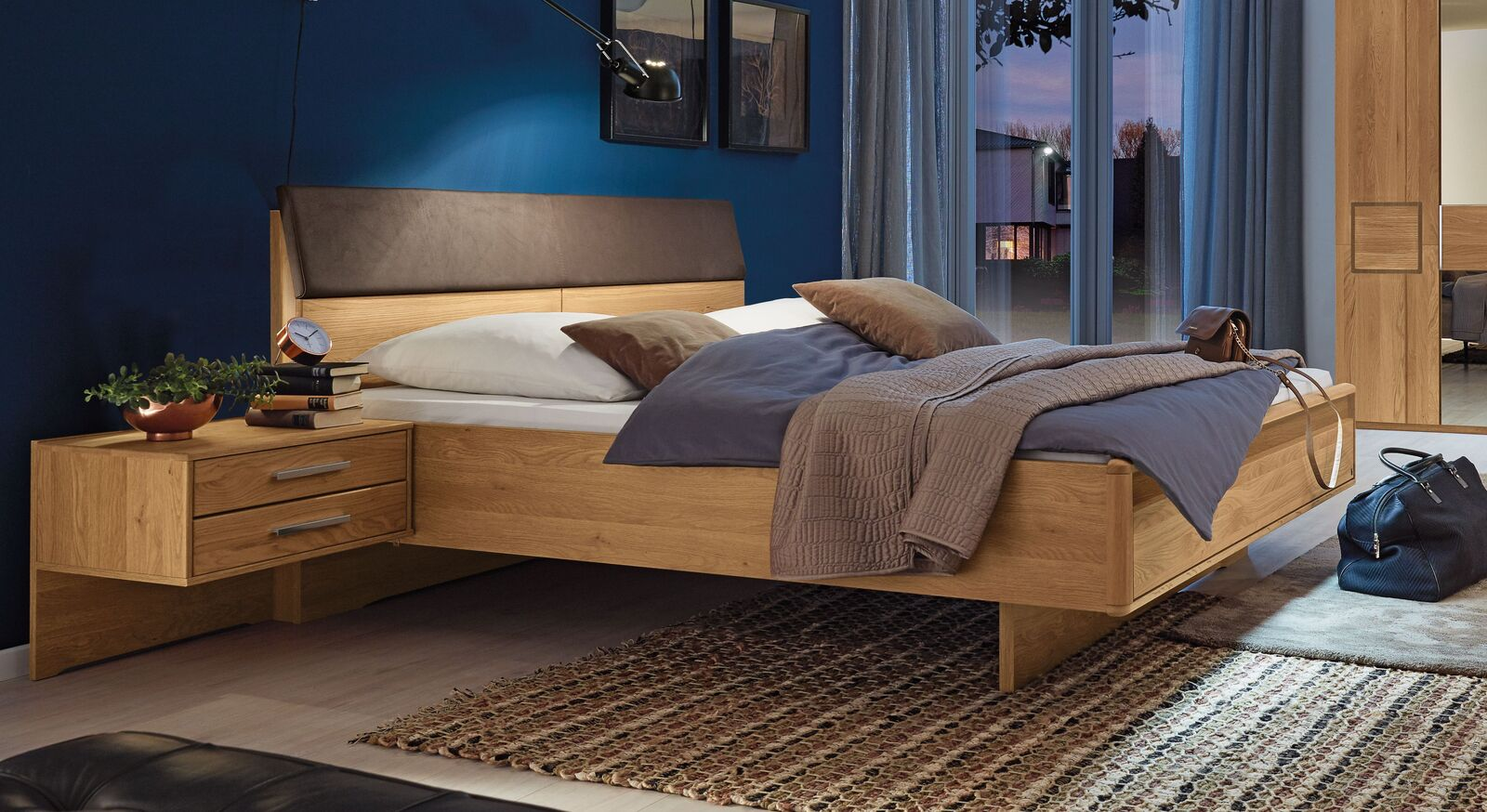MUSTERRING Bett Samoa mit Quersockel mit aufregender Maserung