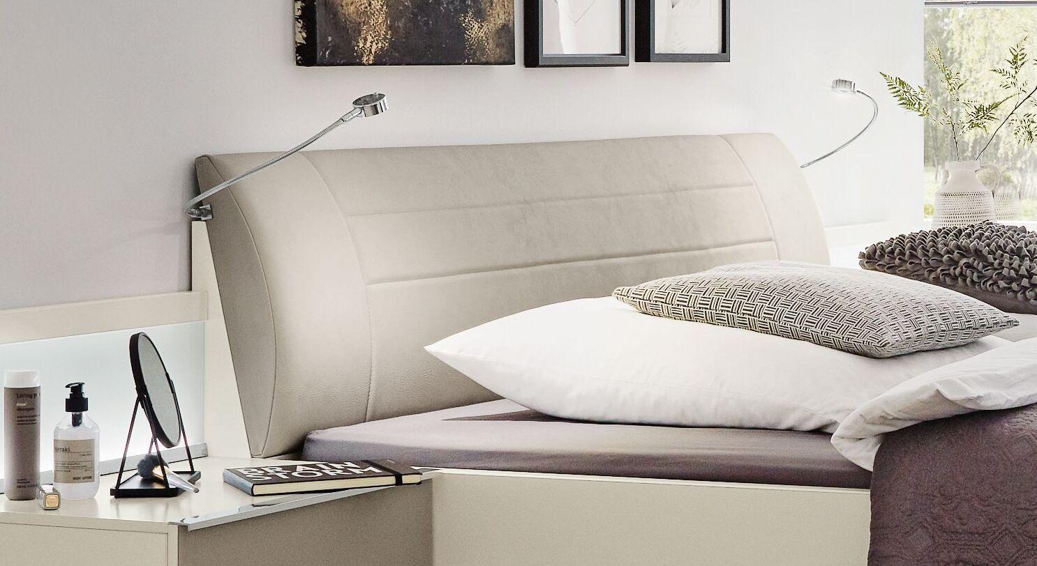 MUSTERRING Bett San Diego Weiß mit gepolstertem Kopfteil