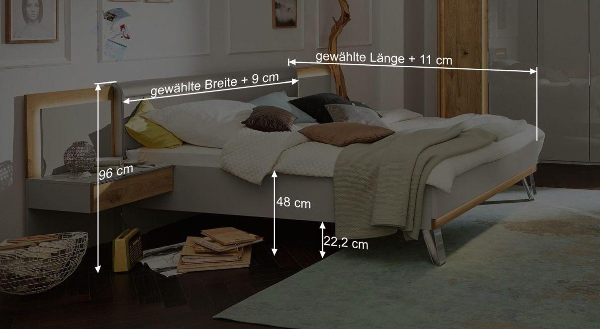 Bemaßungsgrafik zum Bett Saphira kieselgrau