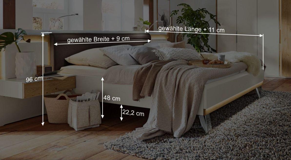 Bemaßungsgrafik zum Bett Saphira weiss