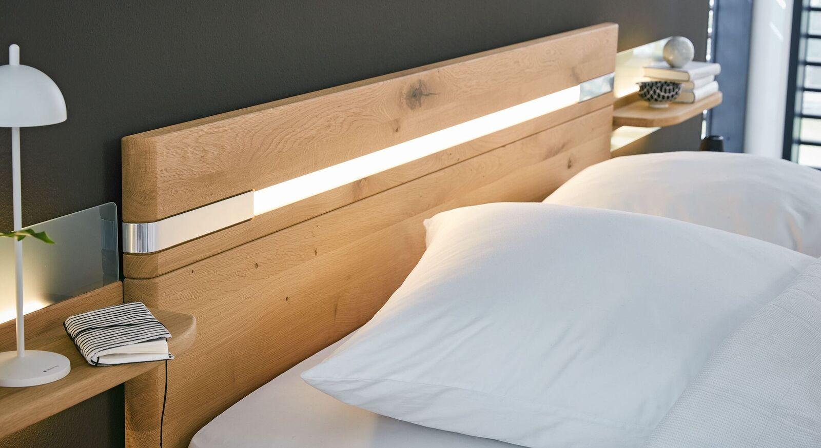 MUSTERRING Bett Savona 2.0 mit Kopfteil aus Massivholz
