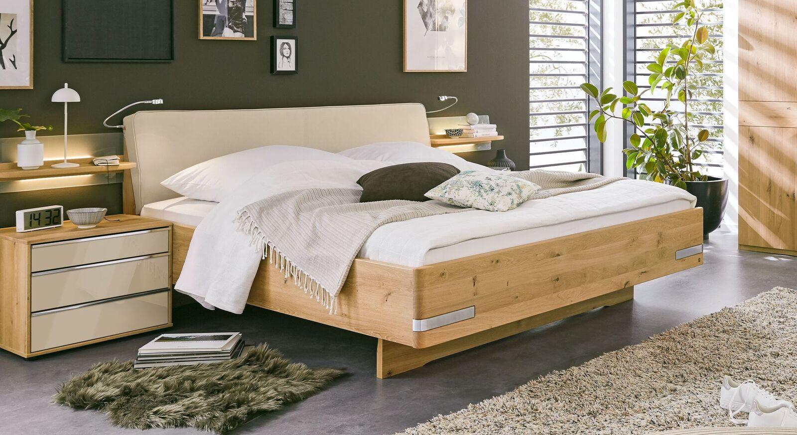 MUSTERRING Bett Savona 2.0 mit Polsterkopfteil und Echtholzrahmen